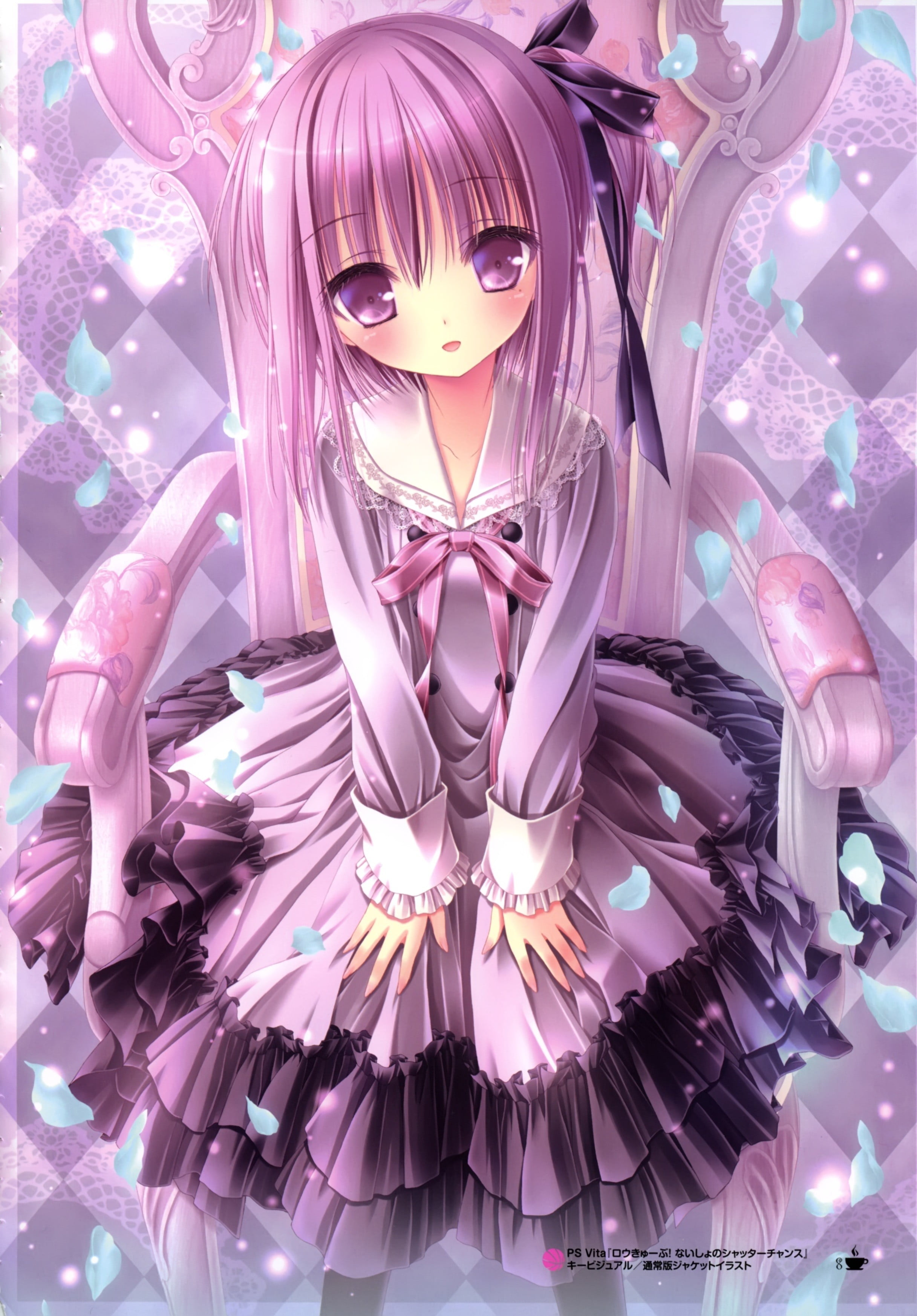 dress in purple Anime girl