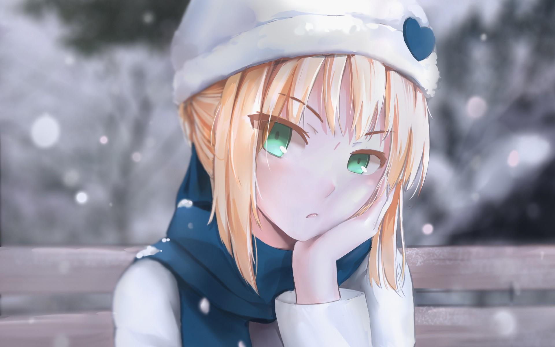 eyes hair green Anime blonde