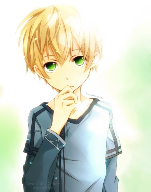 eyes Anime blond and green boy with hair