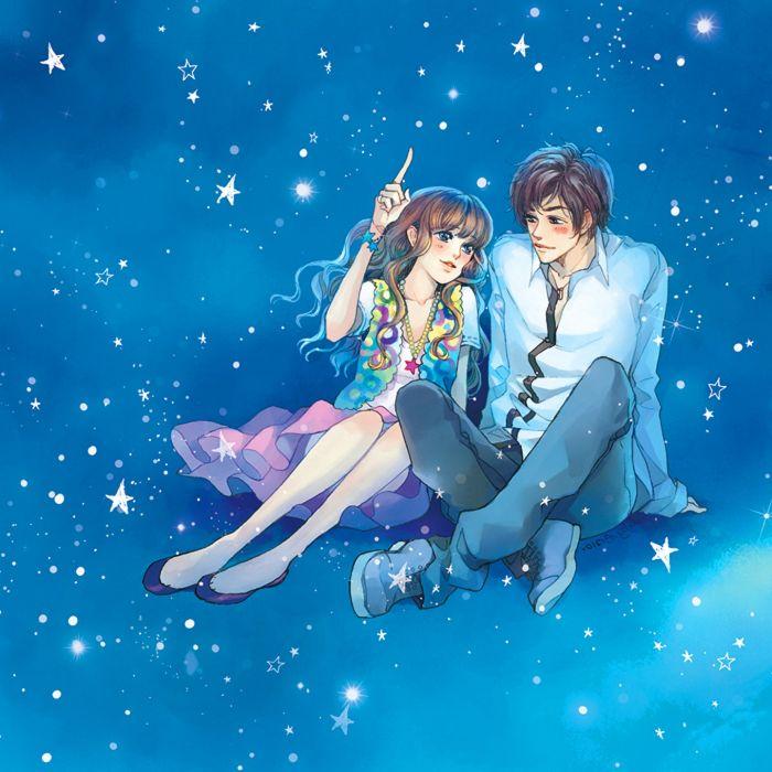 Anime girl and boy sleeping