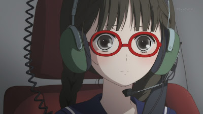 with Anime red glasses girl