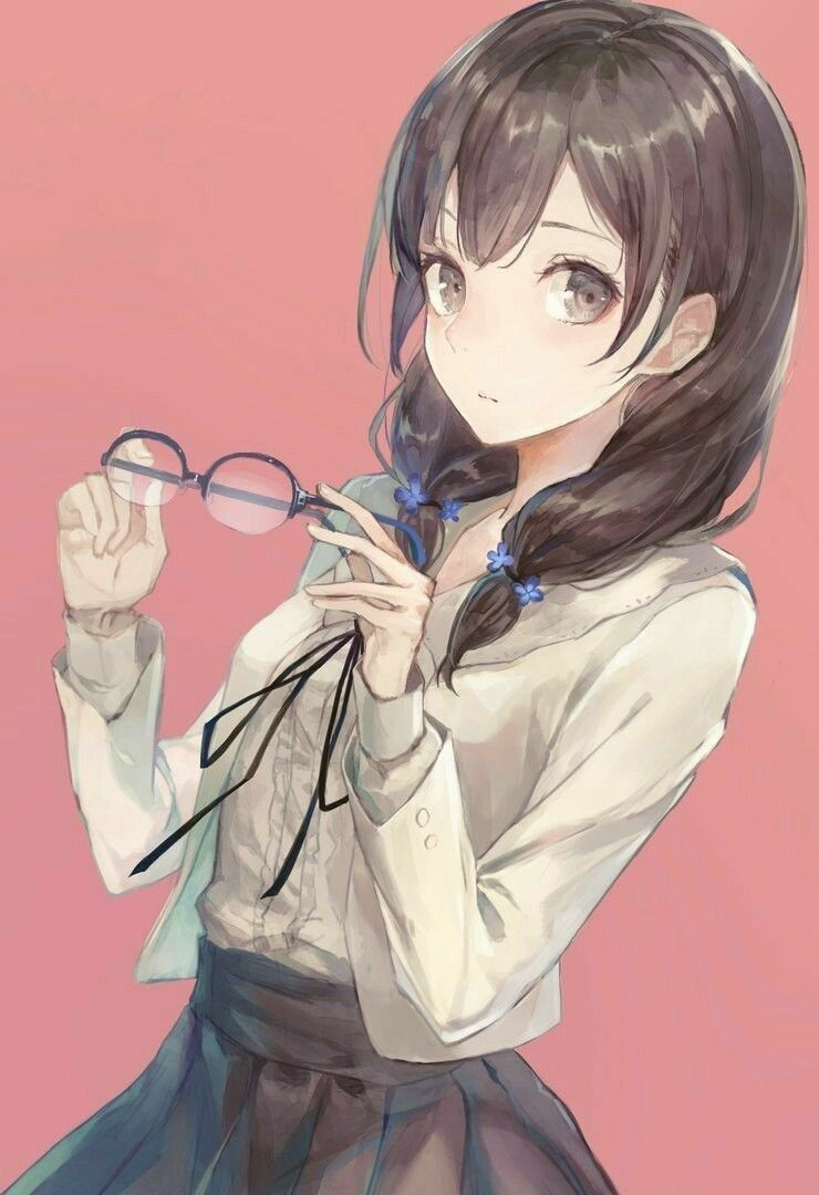 with Cute glasses girl anime