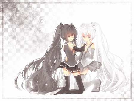 black Anime and white twins