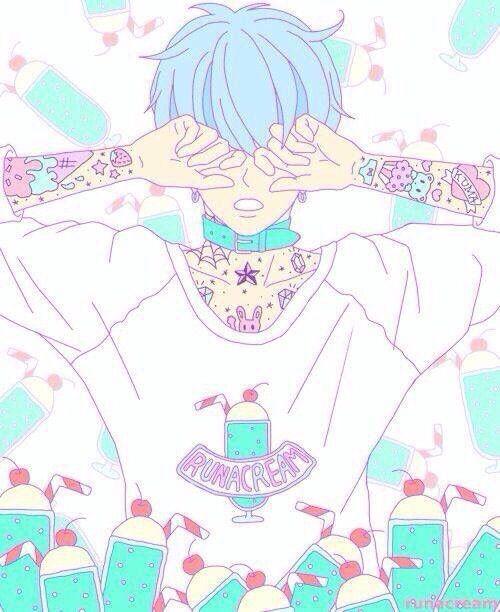 Pastel goth anime boy