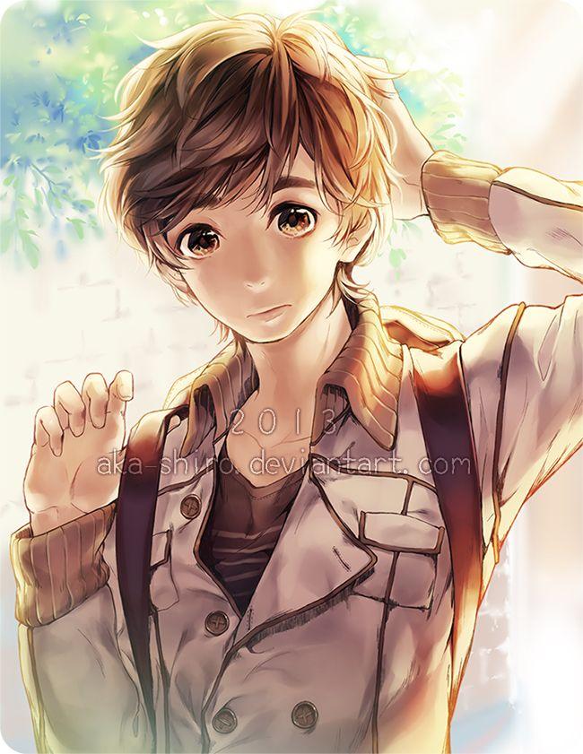 hair eyes Anime boy brown brown