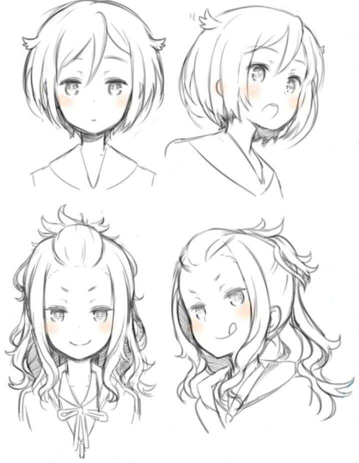 style Asian anime hair