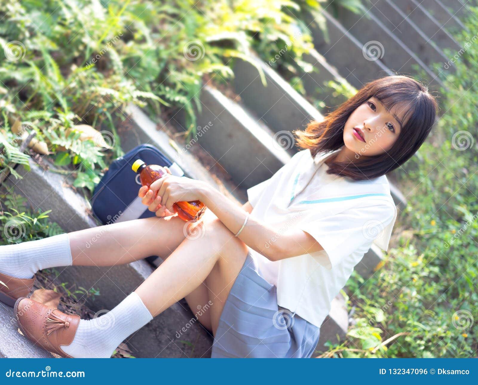 outdoor Asian uniform short hair