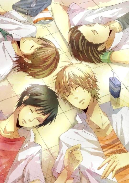 girl and boy sleeping Anime