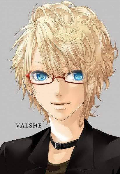 anime eyes guy blue hair Blonde