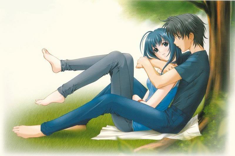 hugging Anime boy girl