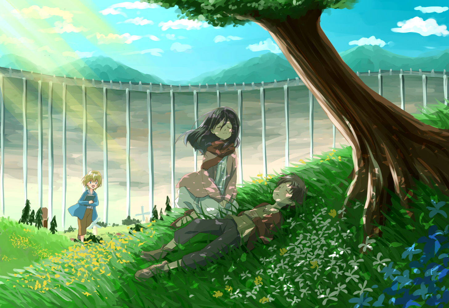 grass Anime in girl laying