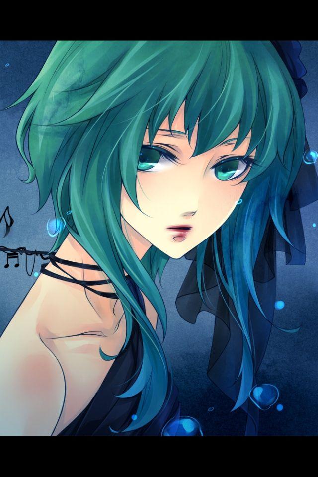 girl with green hair dark Anime