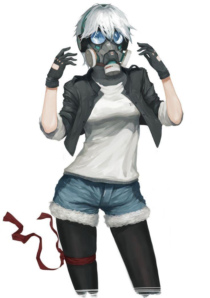 girl with gasmask Anime