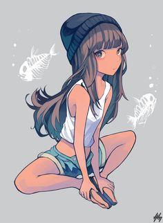 Anime girl with tan skin