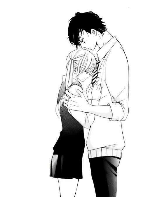 Anime tall girl short boy