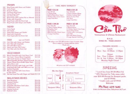 menu Asian cafe canberra