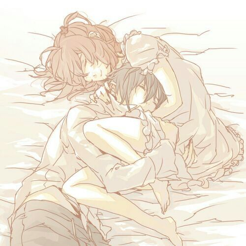 in couples bed anime Cute