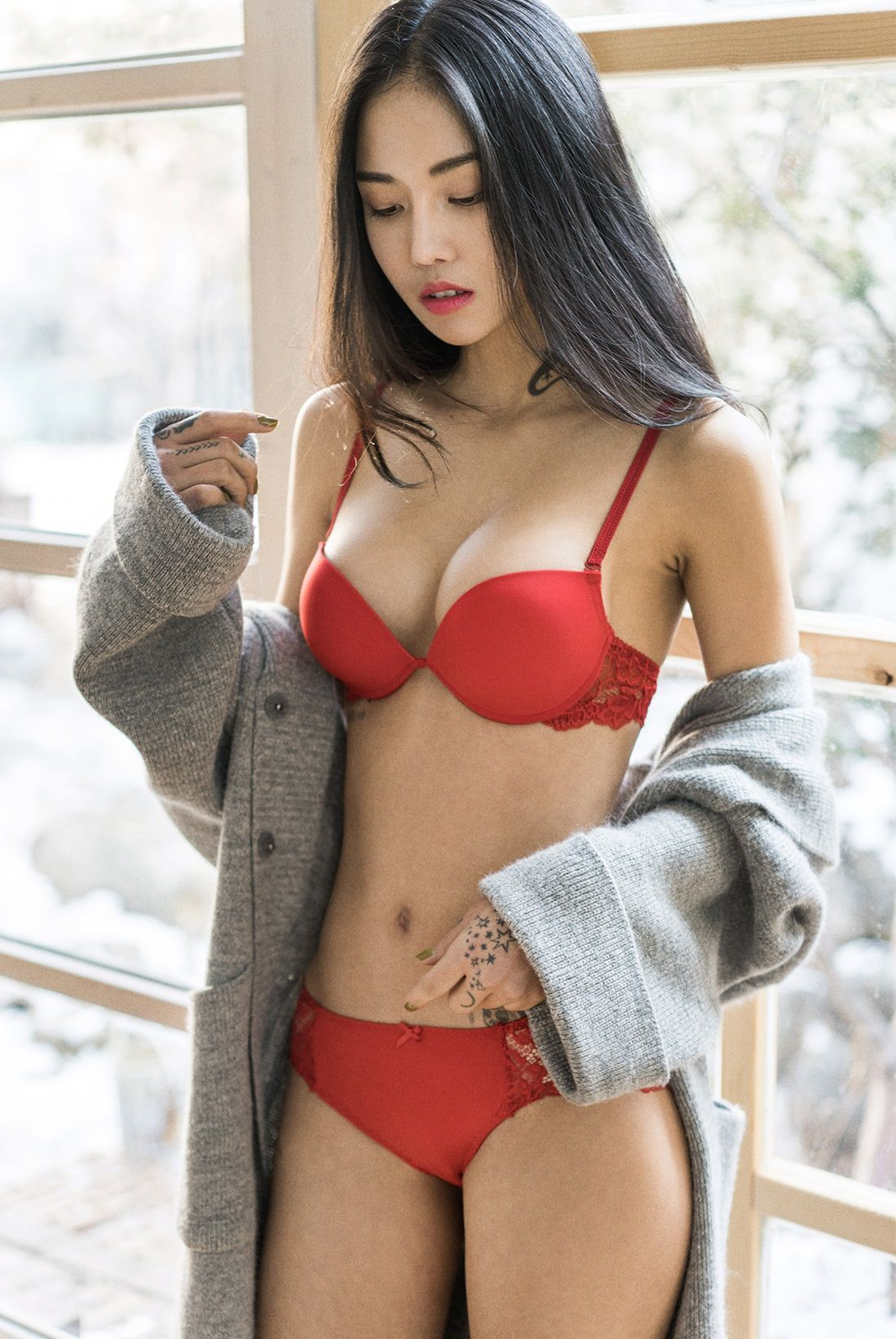 shared lingerie Asian curly